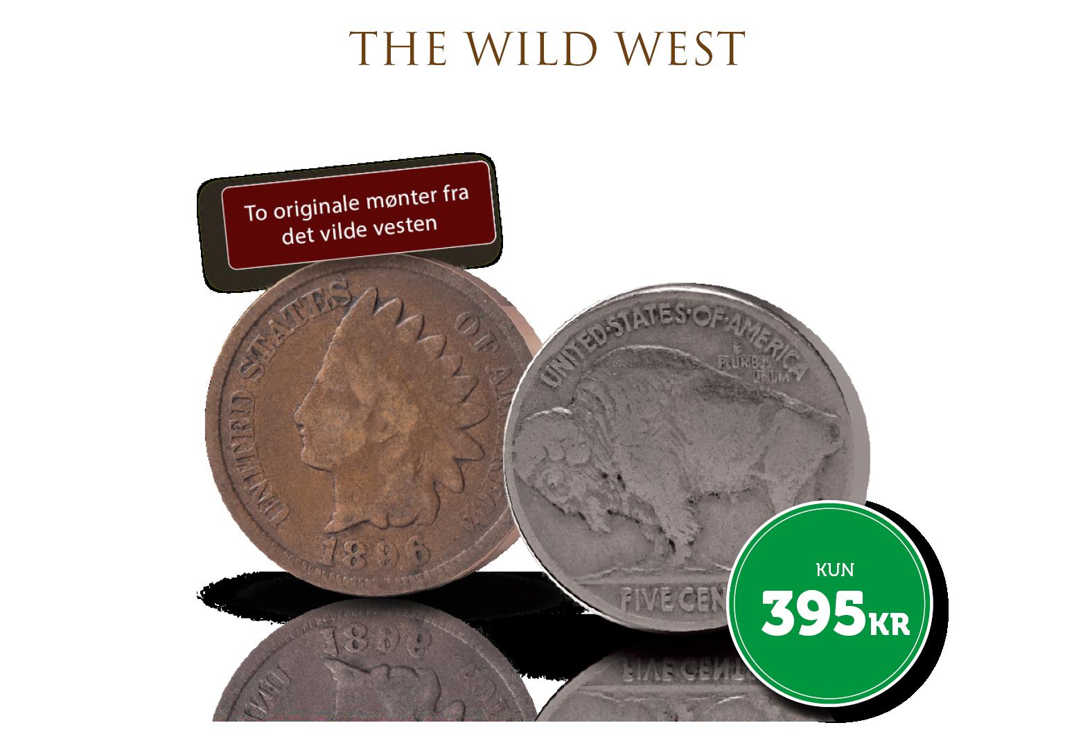 Wild west møntsæt: To originale mønter - Indian Head og Buffalo Nickel